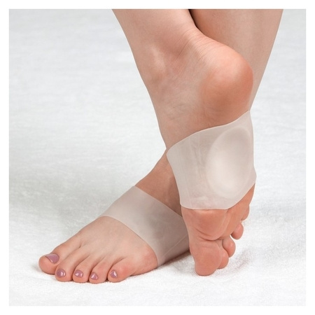 Супинатор для обуви, амортизирующий, на манжете, силиконовый, пара, цвет белый  NNB
