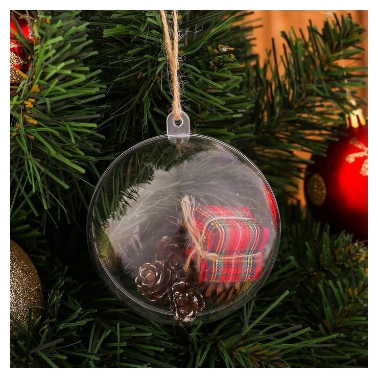 Новогодняя подвеска с природным декором «Снежный шар»  NNB