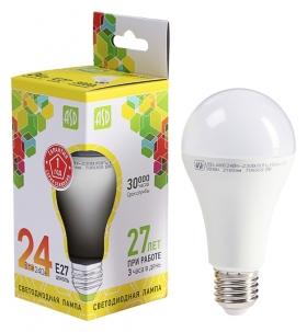 Лампа светодиодная ASD Led-a60-standard, е27, 24 Вт, 230 В, 3000 К, 2160 Лм ASD