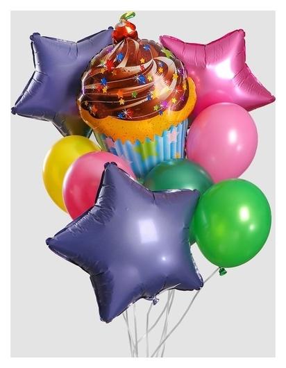 """Букет из шаров """"С днем рождения, торт с вишенкой"""", латекс, фольга, набор 11 шт."""