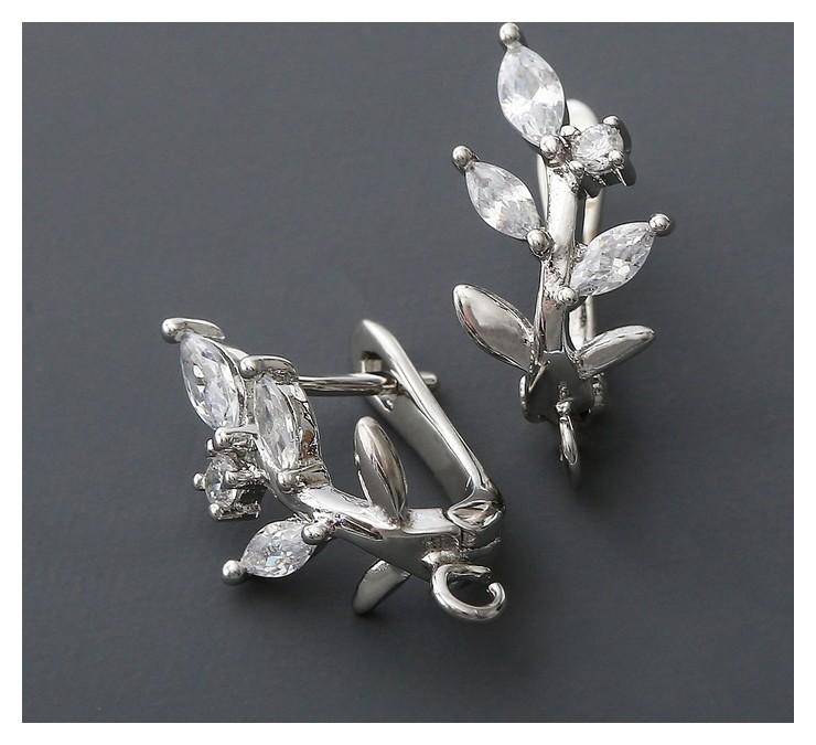 Швензы родированные Веточка, цвет белый в серебре NNB