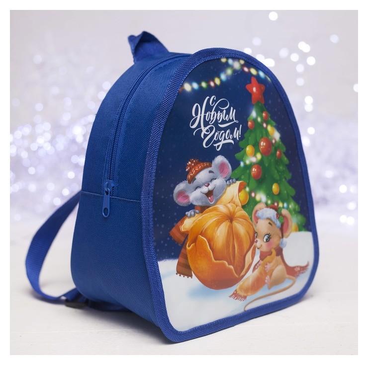 Рюкзак детский новогодний, отдел на молнии, цвет синий NNB