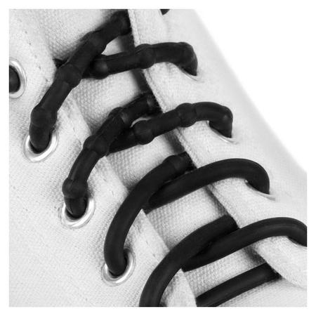 Шнурки для обуви, пара, силиконовые, круглые D = 5 мм, 45 см, цвет чёрный  NNB