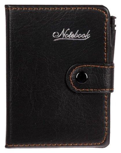 Записная книжка А7, 65 листов, обложка пвх, на кнопке с ручкой  NNB