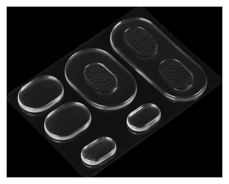 Набор вкладышей для обуви, на клеевой основе, силиконовые, 6 шт, цвет прозрачный/чёрный  NNB