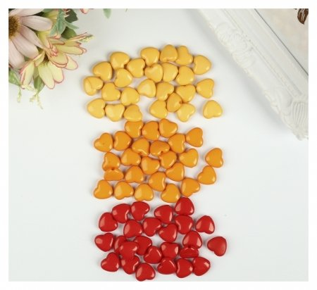 """Бусины для творчества """"Сердце"""", 10 мм, 30 грамм, оранжевые, золотые, красные  Остров сокровищ"""