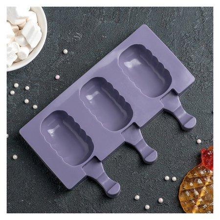 Форма для леденцов и мороженого «Эскимо волна», 19,4×13 см, 3 ячейки  NNB