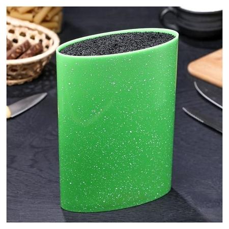 """Подставка для ножей 16×7 см """"Зефир"""", с наполнителем, цвет зелёный"""