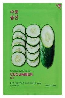 Успокаивающая тканевая маска для лица с экстрактом огурца Pure Essence Mask Sheet Cucumber  Holika Holika