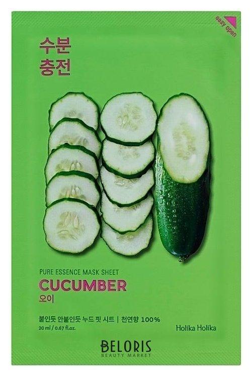 Купить Маска для лица Holika Holika, Успокаивающая тканевая маска для лица с экстрактом огурца Pure Essence Mask Sheet Cucumber, Южная Корея