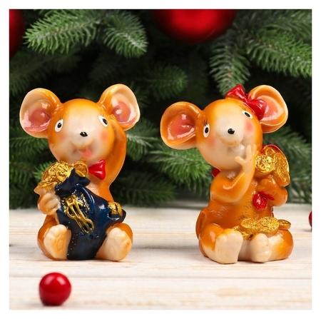 "Сувенир полистоун ""Мышка с бантом с мешком золота"" 8,5х7,2х5,7 см  NNB"