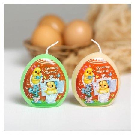Пасхальная свеча-яйцо с картинкой «Цыплята»  NNB