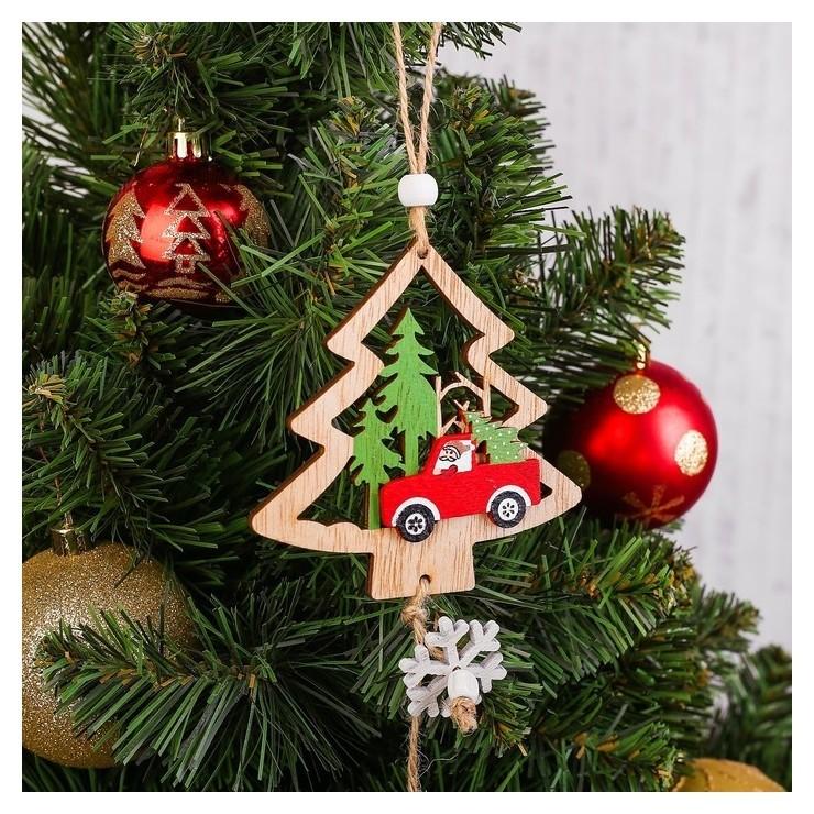 Подвеска новогодняя «Машинка в лесу» с шишкой  NNB