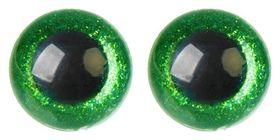 Глаза винтовые с заглушками, «Блёстки» набор 18 шт, размер 1 шт: 2,4 см, цвет зелёный