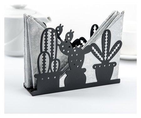 Салфетница «Кактусы», 15×4×10,3 см, цвет чёрный  NNB