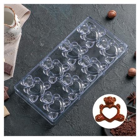 """Форма для шоколада 28×14 см """"Влюблённые мишки"""", 8 ячеек  NNB"""