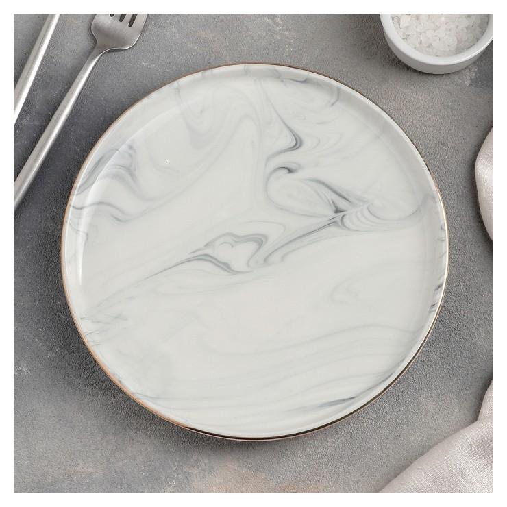 Тарелка десертная «Мрамор», 20 см, цвет серый  NNB