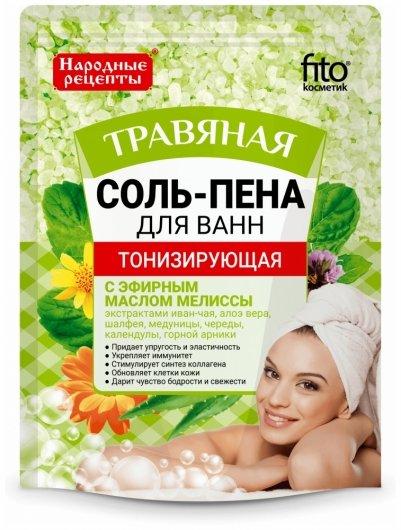 Соль-пена для ванн тонизирующая травяная  Фитокосметик
