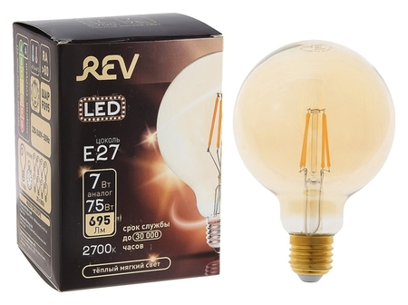 Лампа светодиодная REV LED Filament Vintage, G95, 7 Вт, E27, 2700 K, шар, теплый свет  REV