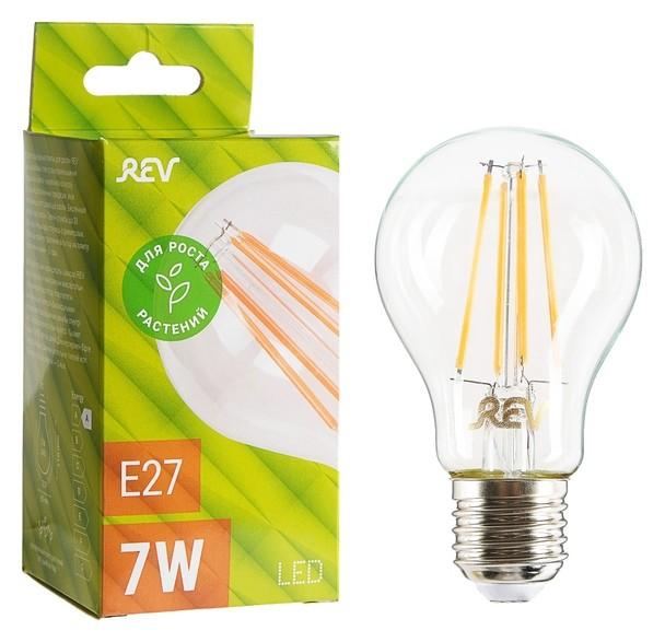 Лампа светодиодная REV LED Filament Garden, A60, 7 Вт, е27, 504 Лм, для растений  REV