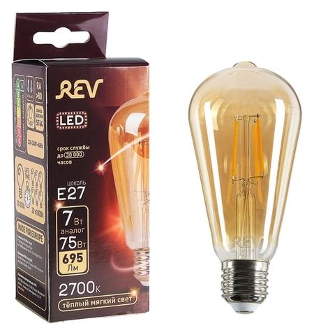 Лампа светодиодная REV LED Filament Vintage, St64, 7 Вт, E27, 2700 K, теплый свет  REV