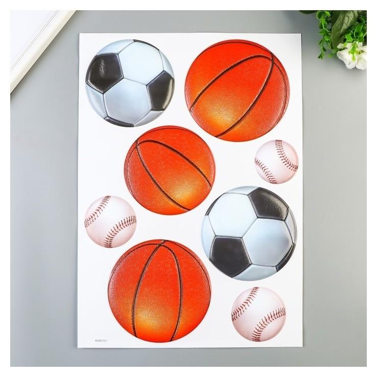 """Объёмные наклейки Room Decor """"Спортивные мячики"""" 30х45 см  Room Decor"""