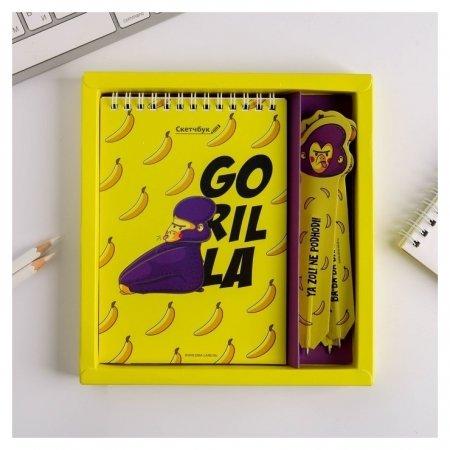 Набор Gorilla, скетчбук A6 + бумажные ручки 3 шт, 18,2 х 19,5 см  ArtFox