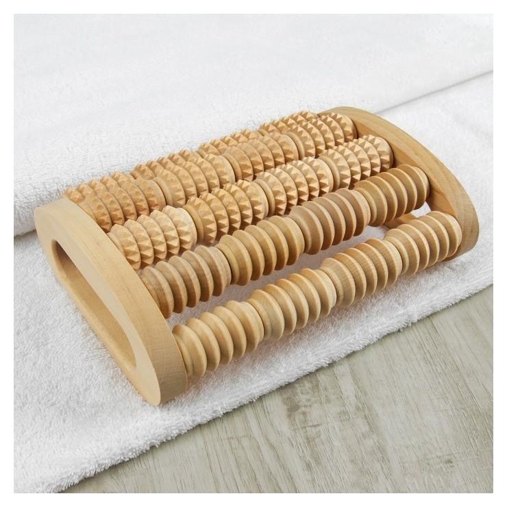 Массажёр для спины и стоп Барабаны, деревянный, 5 комбинированных рядов  Тимбэ Продакшен