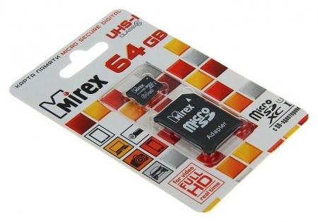 Карта памяти Mirex Microsd, 64 Гб, Sdxc, Uhs-i, класс 10, с адаптером SD  Mirex