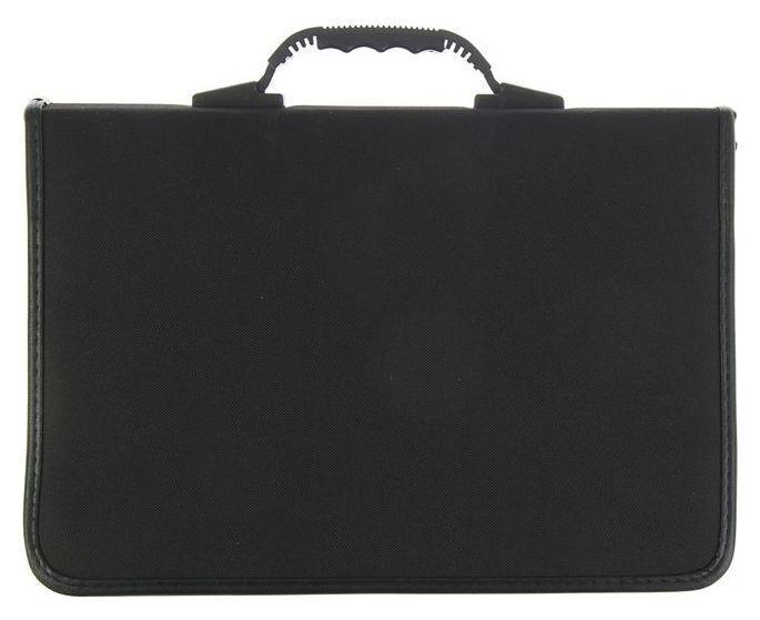 Пaпка деловая, текстильная, В4, 370х270х30 мм, с зажимом, ручка-трансформер, чёрная  Канцбург