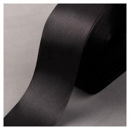 Лента атласная, 50 мм × 100 ± 5 м, цвет чёрный  NNB