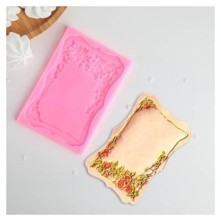 """Молд 15,5×10,5 см """"Рамка с розами"""", цвет розовый  NNB"""