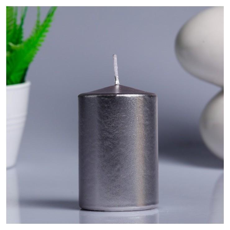 Свеча - цилиндр парафиновая, лакированная, серебрянный металлик, 5,6×8 см  NNB