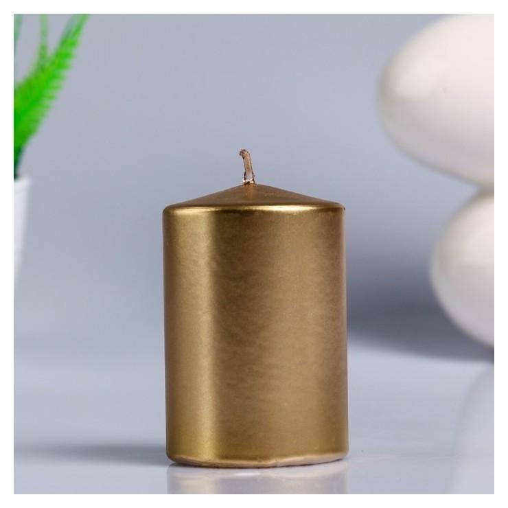 Свеча - цилиндр парафиновая, лакированная, золотой металлик, 5,6×8 см
