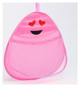 """Сетка для хранения игрушек в ванной """"Смайлик"""", цвет розовый"""