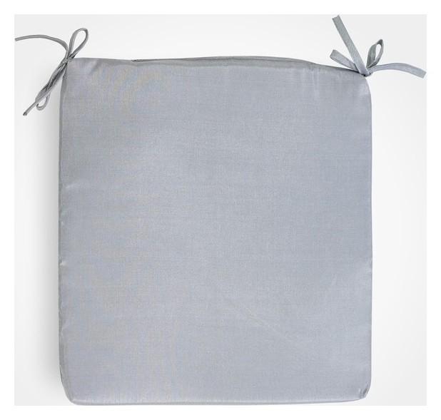 Сидушка на стул бамбук серый 34х34х1,5см, жаккард, поролон, пэ100%  Witerra