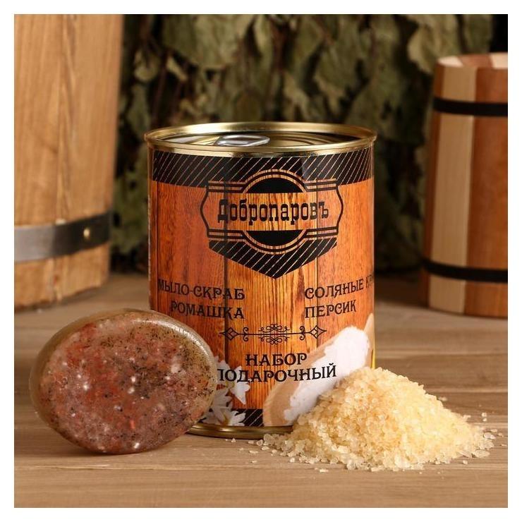 """Набор в банке мыло """"Ромашка"""", соль для бани с персиком  Добропаровъ"""