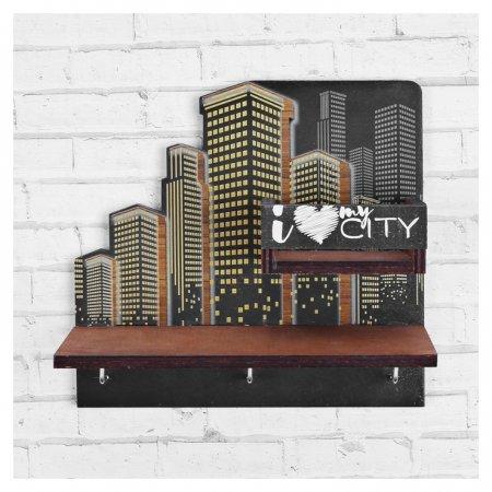 Ключница деревянная с полкой My City