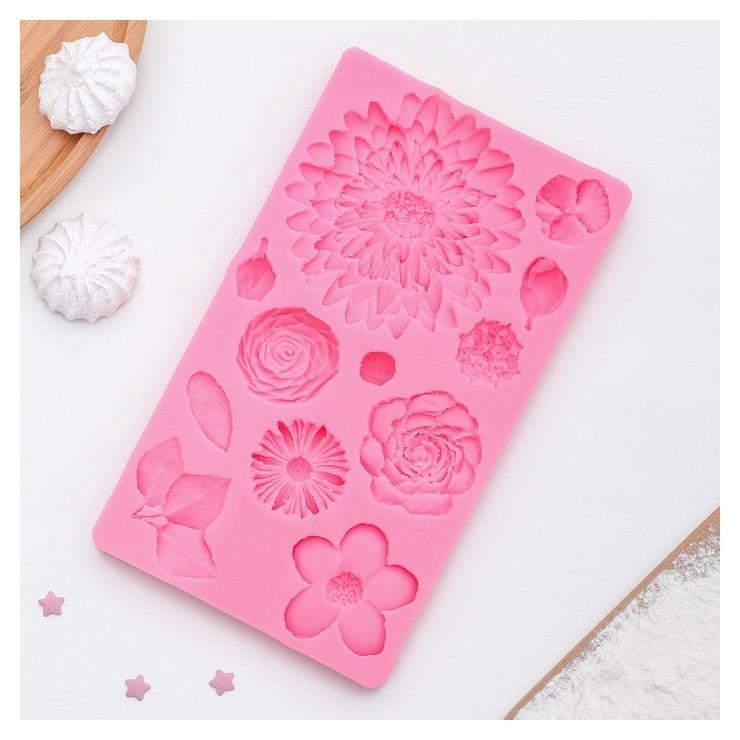Молд силиконовый «Цветы», 25×10 см, профессиональный  NNB