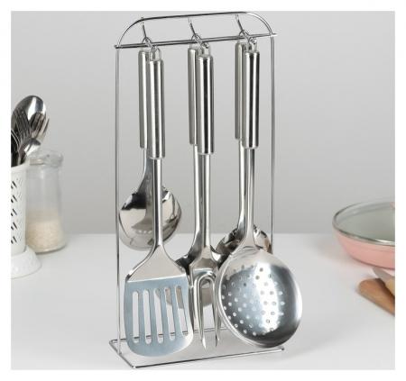 Набор кухонных принадлежностей «Металлик», 6 предметов, на подставке  NNB