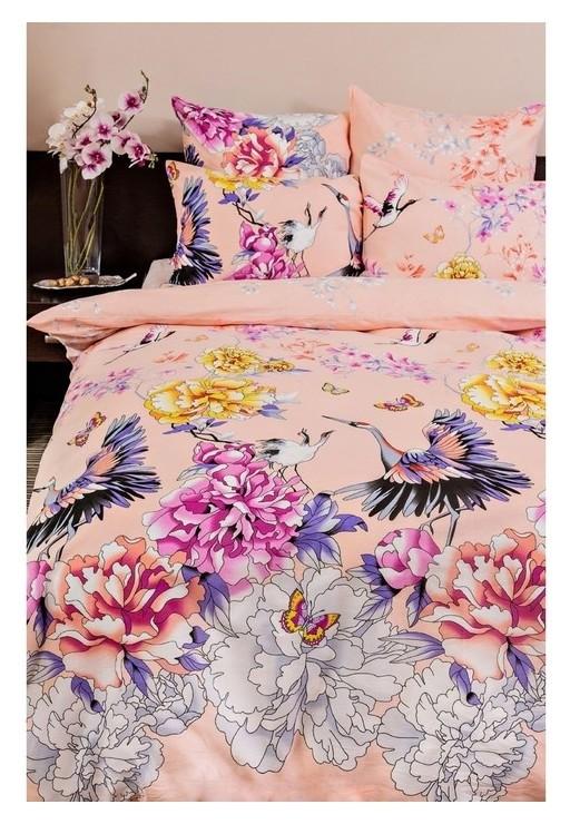 Постельное бельё 2сп ночь нежна «Журавли», цвет розовый, 175х215см, 180х220см, 70х70см — 2 шт  Ночь Нежна