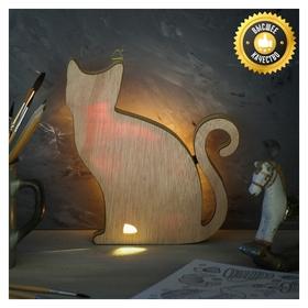 Светильник деревянный «Котик», 17.2 × 18.9 см  NNB