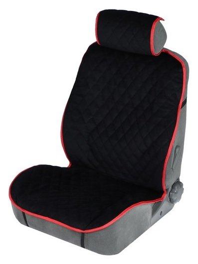 Накидка на переднее сиденье, велюр, размер 55 х 150 см, черный с красным кантом  NNB