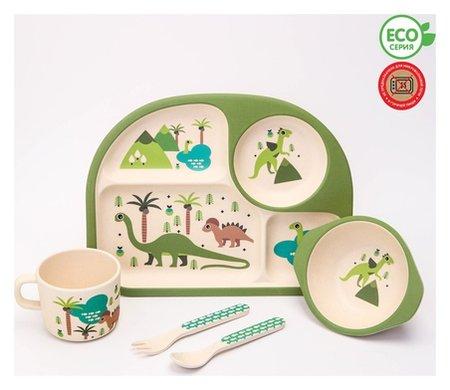 """Набор бамбуковой посуды """"Динозавры"""", тарелка, миска, стакан, приборы, 5 предметов  NNB"""