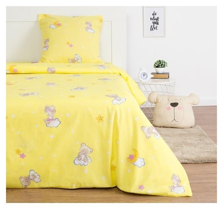 Детское постельное бельё экономь и Я «Месяц» 1.5сп, цвет жёлтый, 147х210±5см, 150х214±5см, 70х70±5см - 1шт  NNB
