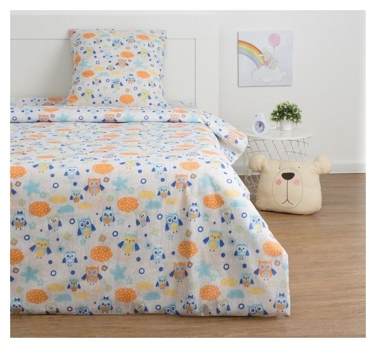 Детское постельное бельё экономь и Я «Сова» 1.5сп, цвет серый, 147х210±5см, 150х214±5см, 70х70±5см - 1шт  Экономь и Я
