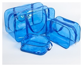 Набор сумок в роддом, 3 шт., цветной пвх, цвет голубой