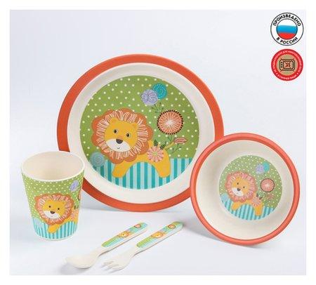 """Набор бамбуковой посуды """"Лёвушка"""", тарелка, миска, стакан, приборы, 5 предметов  NNB"""
