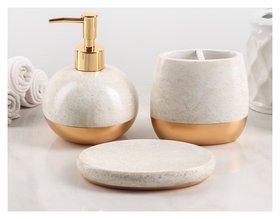 Набор аксессуаров для ванной комнаты «Мрамор», 3 предмета (Дозатор 550 мл, мыльница, стакан)  NNB