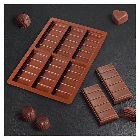 Форма для шоколада «Плитка», 6 ячеек, 26×17×1,5 см, цвет шоколадный  NNB